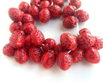 Strawberry Beads Czech Glass Fruit Charms