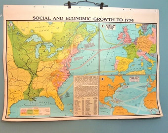 Free Shipping Vintage 2 sided Pull Down School Map of United States Population and Growth USA