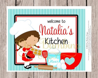 PRINTABLE Little Chef Sign for Cooking Party, Cookie Baking, Cupcake Party / Choose Boy or Girl & Hair Color / 8x10 Sign / You Print