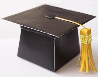 Large Graduation Cap 2017 Version Favor Gift Box Printable Color Template Digital PDF (custom school colors available)
