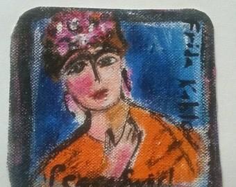 Frida Kalho original PeaceSwirl painting tiny #4