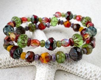 Bead Jewelry - Gift Idea - Handmade Bracelet - Boho Bracelet - Wrap Bracelet - Memory Wire Bracelet - Double Wrap Bracelet - Autumn Series16