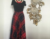 Fall sale 1960s skirt plaid skirt maxi skirt size small wool skirt tartan skirt christmas skirt fritzi skirt 26 waist