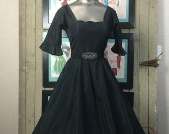 Fall sale 1950s party dress 50s black formal size small Vintage mad men dress taffeta full skirt