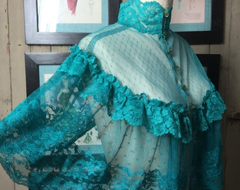 1970s teal cape 70s lace cape size medium Vintage sheer lace blouse