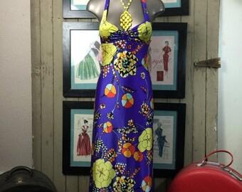 Sale 1970s dress maxi dress halter dress 70s dress size x small Vintage dress op art dress purple dress