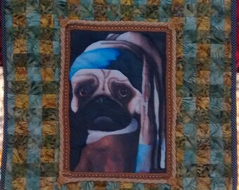 Pug Dog with Pearl Earring handmade art quilt textile wall hanging