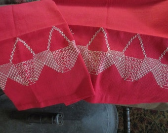 Pair Vintage Huck Towels Swedish Embroidery RED w Baskets FREE Shipping tnt