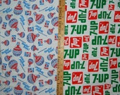 VINTAGE 70s 7 UP and PEPSI Feelin Free soda novelty cotton fabric rare