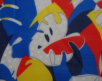 VINTAGE primary color abstract Hawaiian tropical leaves cotton rare