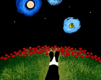 Black Pembroke Welsh Corgi Dog Outsider Folk Art PRINT Todd Young painting STARRY SKY