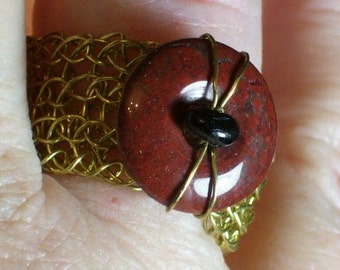 Viking Knit Brecciated Jasper Baltic Amber Ring