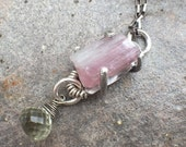 30% OFF - Raw Pink Rubellite Tourmaline Green Amethyst Sterling Silver Necklace