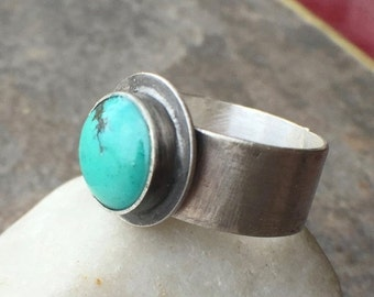 Mothers Day Sale - Sterling Silver Turquoise Bold Wide Band Ring US Size 7 twochickstoo