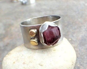 Mothers Day Sale - Raw Tourmaline Sterling Silver 22K Gold Wide Band Ring - US Size 5