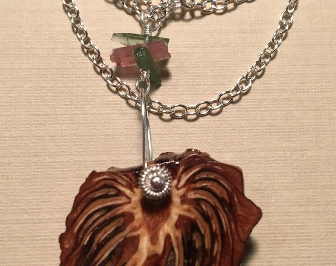 Resin Pinecone and Tourmaline Necklace