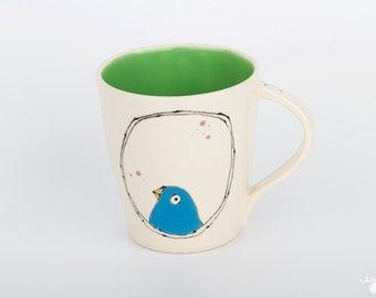 Large Handmade Bird Mug * Coffee Mug * Tea Mug  * Modern Pottery * Blue and Green * Fat Bird * Whimsical Pottery * Fun Gift * Ready to Ship