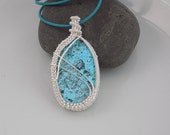 Chrysocolla Oval Cabochon Silver Wire Pendant Wire Wrapped Jewelry Handmade Medallion Wire Weave Amulet Light Turquoise Blue Stone