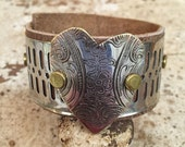 Brown Leather Cuff with Vintage Silver Tray Cut Heart