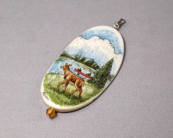 Scrimshaw Pendant, Bone Scrimshaw, Hand Etched, Deer Fawn Scene, Mountains Lake, Trees Canoe, On Vacation, Nature Wildlife
