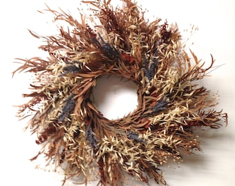 Brown Gold Blue preserved eucalyptus lavender and wild grasses wreath