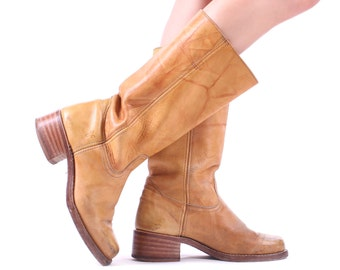Size Men's 9 FRYE Boots CAMPUS 80s Tan Beige Platform Leather Tall High Knee Long Leather Chunky Cowboy Riding Us men 9 , Eur 42, UK 8.5