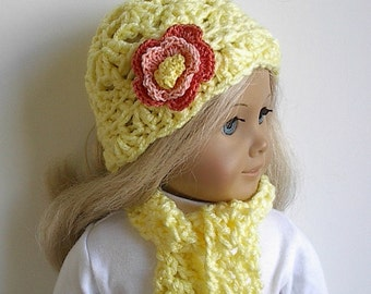 18 Inch Doll Crocheted Flowered Hat and Scarf in Yellow Handmade to Fit the  American Girl and other Dolls