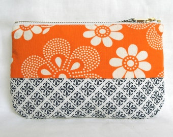 1970's Retro Vintage Floral Fabric Make Up Bag, with Japanese fabric. Zip Purse, Pouch.  Ipod Case. Orange Blue White.