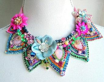 Blooming Gorgeous - OOAK Neckpiece - Ready to ship xx