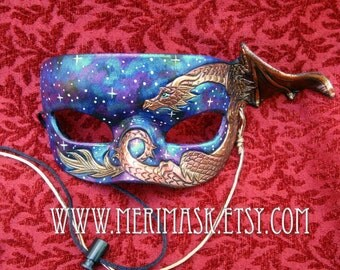 READY TO SHIP Copper Dragon Galaxy Mask... original handmade leather masquerade costume galaxy mardi gras halloween burning man starry night