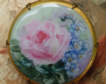 Vintage Painted Porcelain Pin Rose and Forgetmeknots