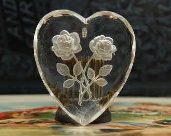 Vintage Glass Heart Pendant Rose Intaglio West German Faceted