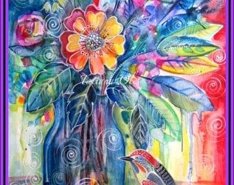 original watercolor ''Beautiful visitor'' by Tatiana Oles /Home decor /nursery room decor /bird  /flowers /