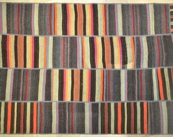 Multicolor Bright Stripe Patchwork Rug Wool Kilim Handwoven Turkish 5.5'x7.5'