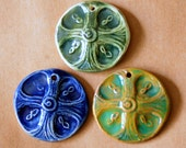 3 Handmade Ceramic Pendant Beads  - Celtic Cross Beads in green, blue, and green with brown