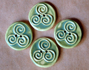 4 Handmade Ceramic Buttons- Triple Spiral Buttons in Earthy Olive Satin - Triskele Celtic Handmade Buttons