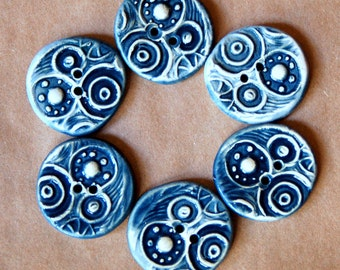 6 Handmade Ceramic Buttons - Circle Steampunk buttons in Denim Blue - Stoneware Buttons