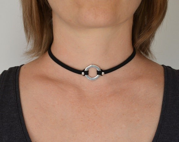 o ring choker necklace suede choker thin black by 1001artbeads
