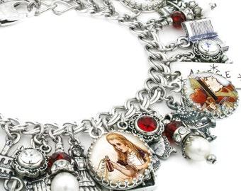 Alice in Wonderland Charm Bracelet, Alice Charm Bracelet, Alice in Wonderland Jewelry, Pearl Bracelet, White Rabbit, Mad Hatter