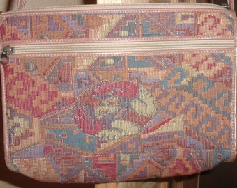 Vintage LISETTE-For Marlene's of Tarzana-Unique Ethnic Tapestry Purse