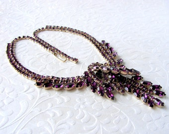 Incredible Rhinestone Necklace Amethyst Purple Statement Waterfall Drape Vintage Costume Jewelry Formal Bridal Wedding Pageant Ballroom Gold