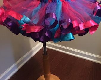 Ribbon tutu-Hot pink purple turquoise tutu-fluffy princess tutu