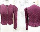 Reserverd to Elena Vintage 1970/70s Tyrol Trachten Dirndl corset bodice top blouse, burgundy floral printed cotton  size S