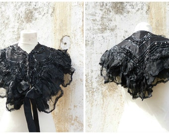 Vintage Antique 1850/1900 French Victorian capelet sequins embroidered & silk organza ruffles