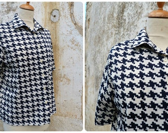Vintage 1970/1980 French pied de coq navy blue & white  blouse  size L