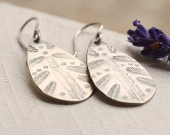Boho Style Earrings, 925 Silver Earrings, Hand Stamped Earrings, Feather Earrings, Bohemian Silver, Oxidized Silver, Gypsy Style