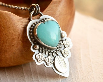 Turquoise Heart Necklace, Detailed Silver Turquoise Pendant, Sleeping Beauty Turquoise, American Turquoise Necklace, Robins Egg Blue