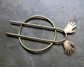 Bun Pin Hair Slide Hair Pin Brass Hair Piece - Jazz Hands - Kooky sculptural hair accessory