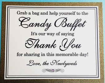 8x10 Flat Wedding Candy Buffet Paper Sign in Glittery Gold and Black and Cream - READY TO SHIP