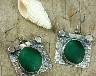 Sea Glass Bezel Earrings Turquoise Sea Glass Earrings Teal Green Sea Glass Earrings English Sea Glass Jewelry E-180